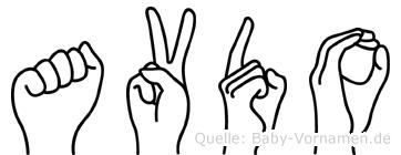 Avdo im Fingeralphabet der Deutschen Gebärdensprache
