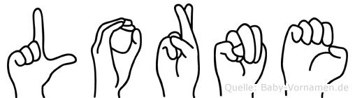 Lorne im Fingeralphabet der Deutschen Gebärdensprache