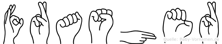 Frasher im Fingeralphabet der Deutschen Gebärdensprache