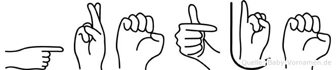 Gretje im Fingeralphabet der Deutschen Gebärdensprache