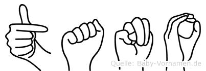 Tano im Fingeralphabet der Deutschen Gebärdensprache