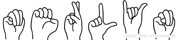 Merlyn im Fingeralphabet der Deutschen Gebärdensprache