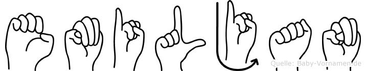 Emiljan in Fingersprache für Gehörlose