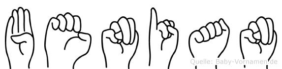 Benian im Fingeralphabet der Deutschen Gebärdensprache