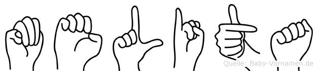 Melita im Fingeralphabet der Deutschen Gebärdensprache