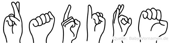 Radife in Fingersprache für Gehörlose