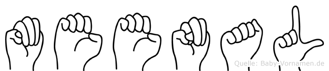 Meenal im Fingeralphabet der Deutschen Gebärdensprache