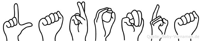 Laronda im Fingeralphabet der Deutschen Gebärdensprache