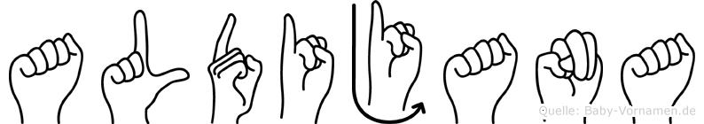 Aldijana im Fingeralphabet der Deutschen Gebärdensprache