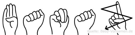 Banaz im Fingeralphabet der Deutschen Gebärdensprache