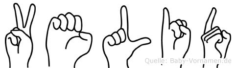 Velid im Fingeralphabet der Deutschen Gebärdensprache