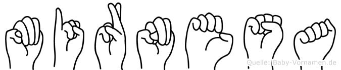 Mirnesa im Fingeralphabet der Deutschen Gebärdensprache