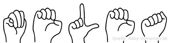 Melea im Fingeralphabet der Deutschen Gebärdensprache