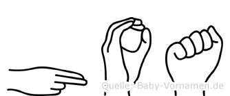 Hoa im Fingeralphabet der Deutschen Gebärdensprache