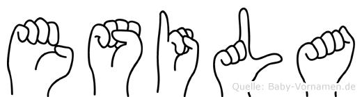 Esila im Fingeralphabet der Deutschen Gebärdensprache