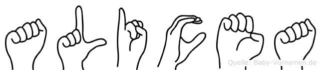 Alicea in Fingersprache für Gehörlose