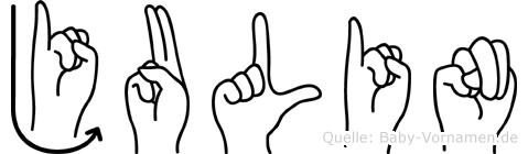 Julin im Fingeralphabet der Deutschen Gebärdensprache