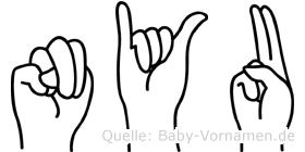 Nyu in Fingersprache für Gehörlose