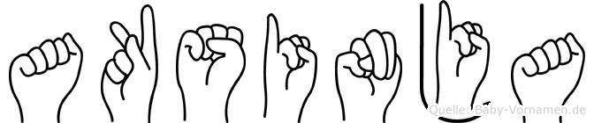 Aksinja im Fingeralphabet der Deutschen Gebärdensprache