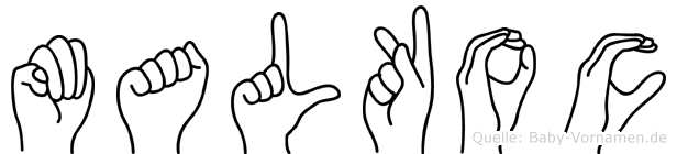 Malkoc im Fingeralphabet der Deutschen Gebärdensprache
