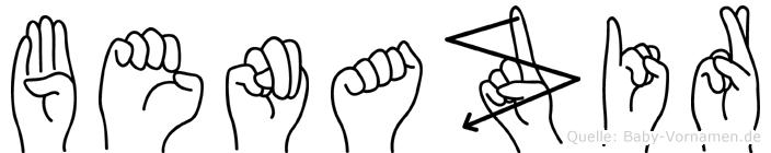Benazir im Fingeralphabet der Deutschen Gebärdensprache