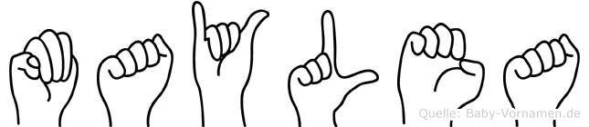 Maylea im Fingeralphabet der Deutschen Gebärdensprache