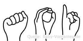 Aoi im Fingeralphabet der Deutschen Gebärdensprache