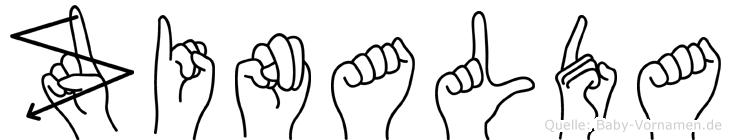 Zinalda im Fingeralphabet der Deutschen Gebärdensprache