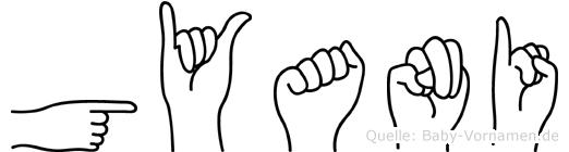 Gyani im Fingeralphabet der Deutschen Gebärdensprache