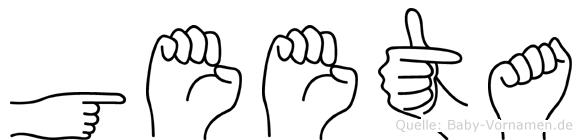 Geeta im Fingeralphabet der Deutschen Gebärdensprache