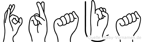 Fraja im Fingeralphabet der Deutschen Gebärdensprache