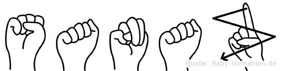 Sanaz im Fingeralphabet der Deutschen Gebärdensprache