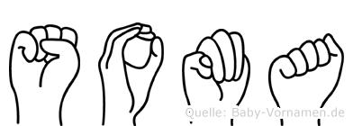 Soma im Fingeralphabet der Deutschen Gebärdensprache