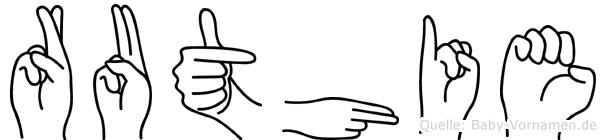 Ruthie im Fingeralphabet der Deutschen Gebärdensprache
