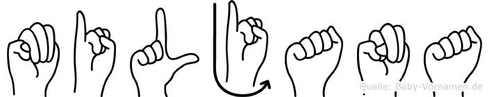 Miljana im Fingeralphabet der Deutschen Gebärdensprache