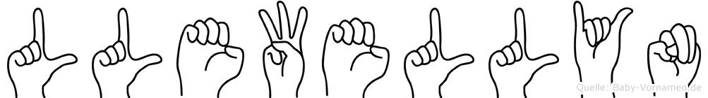 Llewellyn im Fingeralphabet der Deutschen Gebärdensprache
