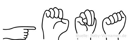 Gena im Fingeralphabet der Deutschen Gebärdensprache