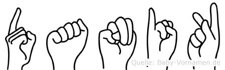 Danik im Fingeralphabet der Deutschen Gebärdensprache
