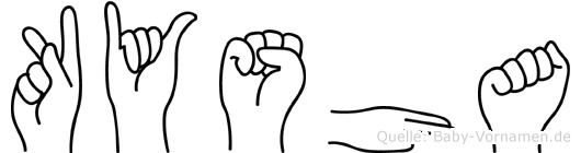Kysha im Fingeralphabet der Deutschen Gebärdensprache