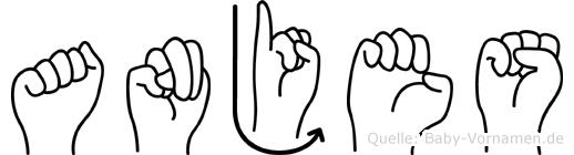 Anjes im Fingeralphabet der Deutschen Gebärdensprache