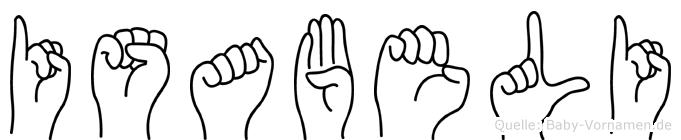 Isabeli im Fingeralphabet der Deutschen Gebärdensprache