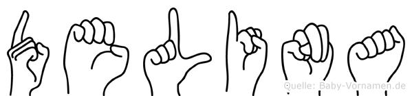 Delina im Fingeralphabet der Deutschen Gebärdensprache