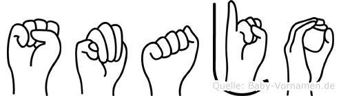 Smajo im Fingeralphabet der Deutschen Gebärdensprache