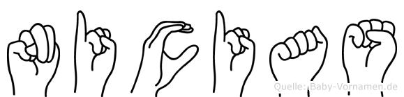 Nicias im Fingeralphabet der Deutschen Gebärdensprache