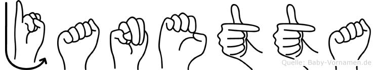 Janetta im Fingeralphabet der Deutschen Gebärdensprache