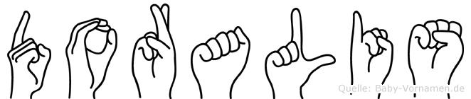 Doralis im Fingeralphabet der Deutschen Gebärdensprache