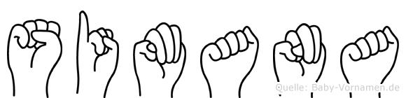 Simana im Fingeralphabet der Deutschen Gebärdensprache