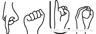 Pajo im Fingeralphabet der Deutschen Gebärdensprache