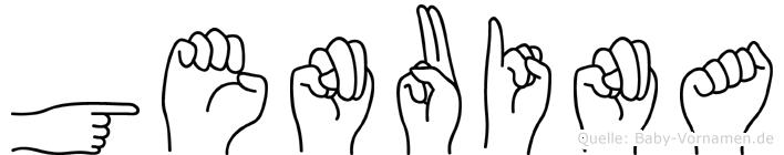 Genuina im Fingeralphabet der Deutschen Gebärdensprache