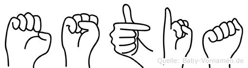 Estia in Fingersprache für Gehörlose